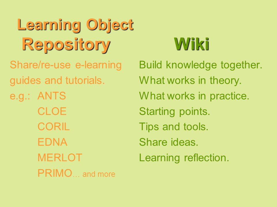 Learning Object Repository Wiki Share/re-use e-learning guides and tutorials.