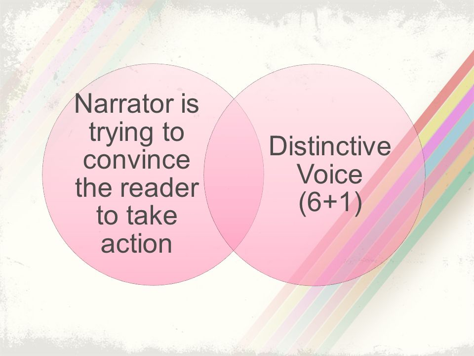 Narrator is trying to convince the reader to take action Distinctive Voice (6+1)