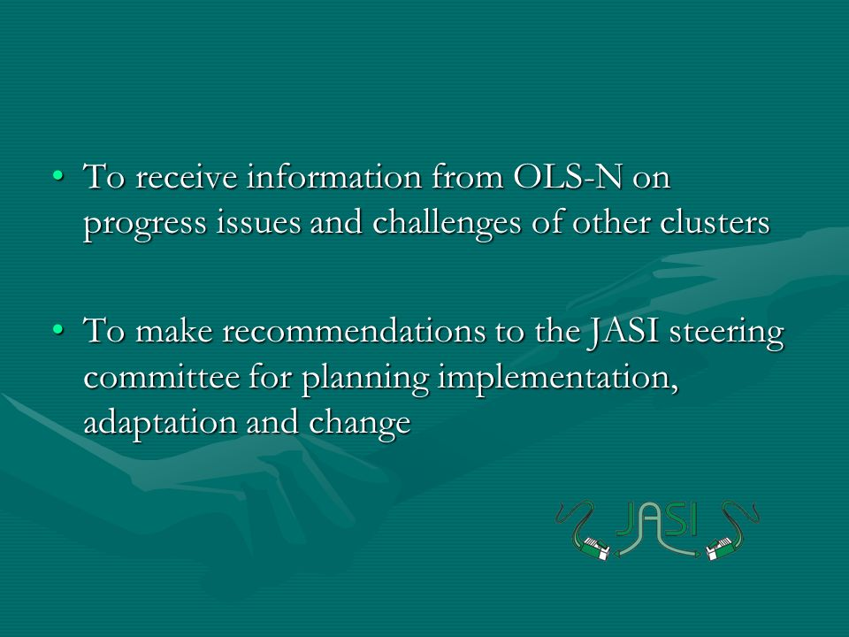 To receive information from OLS-N on progress issues and challenges of other clustersTo receive information from OLS-N on progress issues and challenges of other clusters To make recommendations to the JASI steering committee for planning implementation, adaptation and changeTo make recommendations to the JASI steering committee for planning implementation, adaptation and change