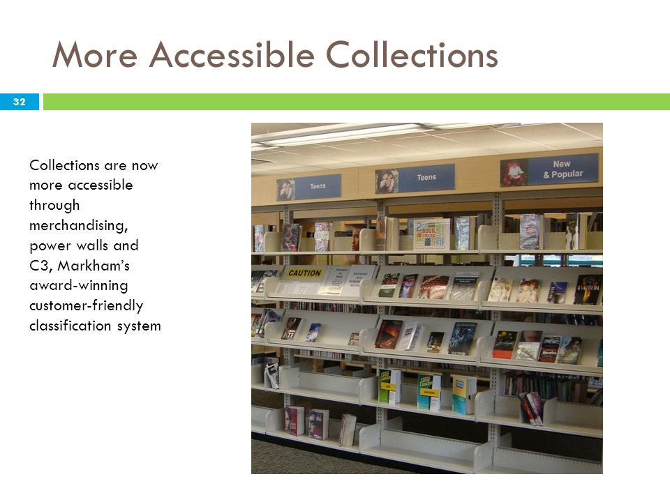 More Accessible Collections Collections are now more accessible through merchandising, power walls and C3, Markhams award-winning customer-friendly cl