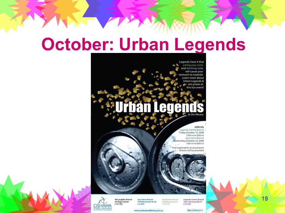 19 October: Urban Legends