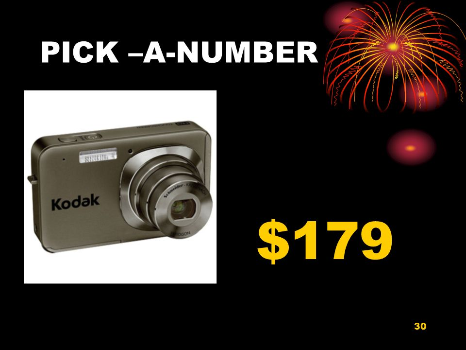 30 PICK –A-NUMBER $179