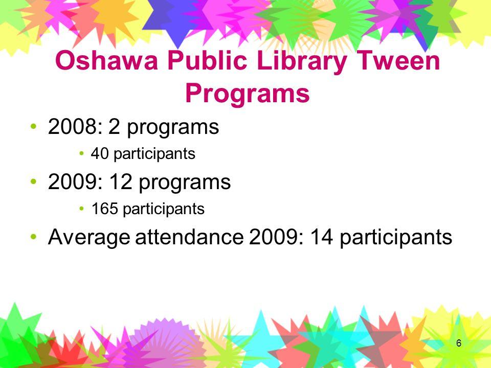 6 Oshawa Public Library Tween Programs 2008: 2 programs 40 participants 2009: 12 programs 165 participants Average attendance 2009: 14 participants