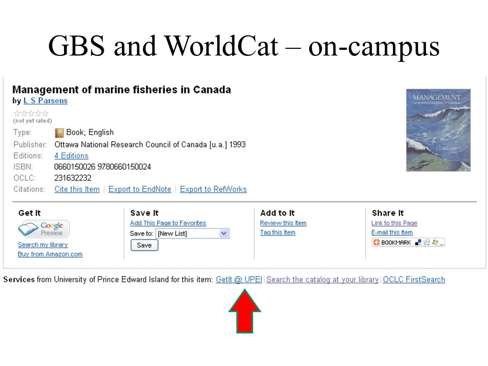 GBS and WorldCat – on-campus