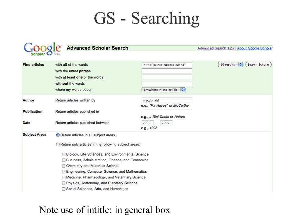 GS - Searching Note use of intitle: in general box