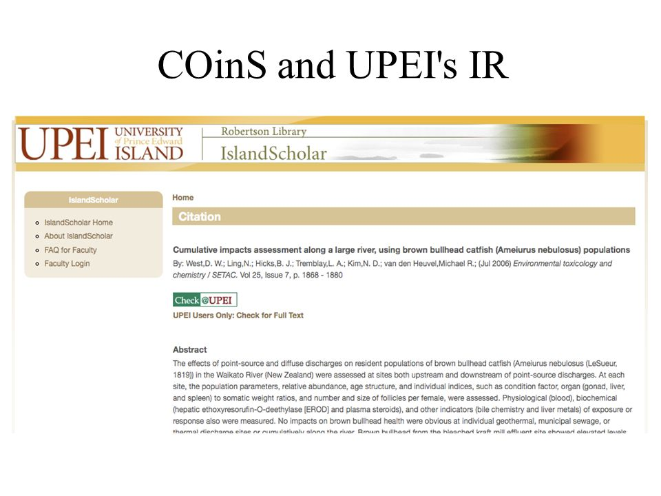 COinS and UPEI s IR