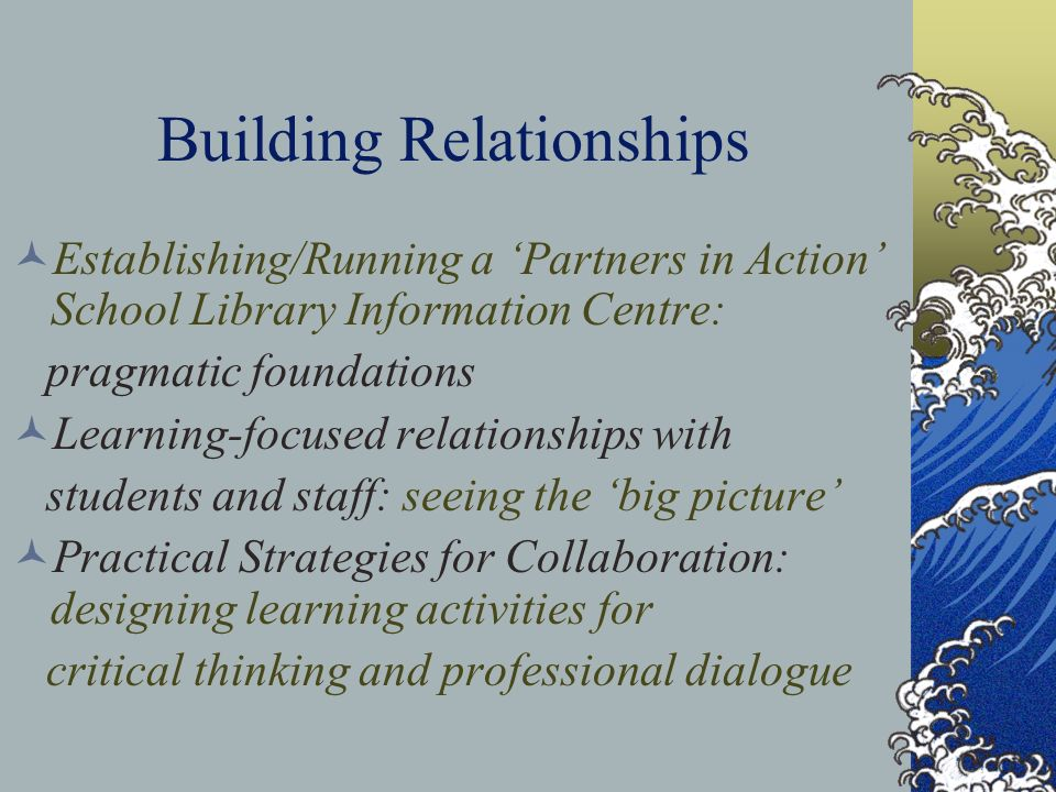 Building Relationships Strategies for Connecting with Students and Staff Cindy Matthews, Teacher-Librarian, TDSB