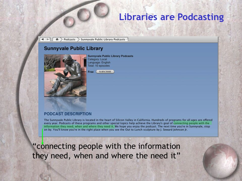 Libraries are Podcasting connecting people with the information they need, when and where the need it