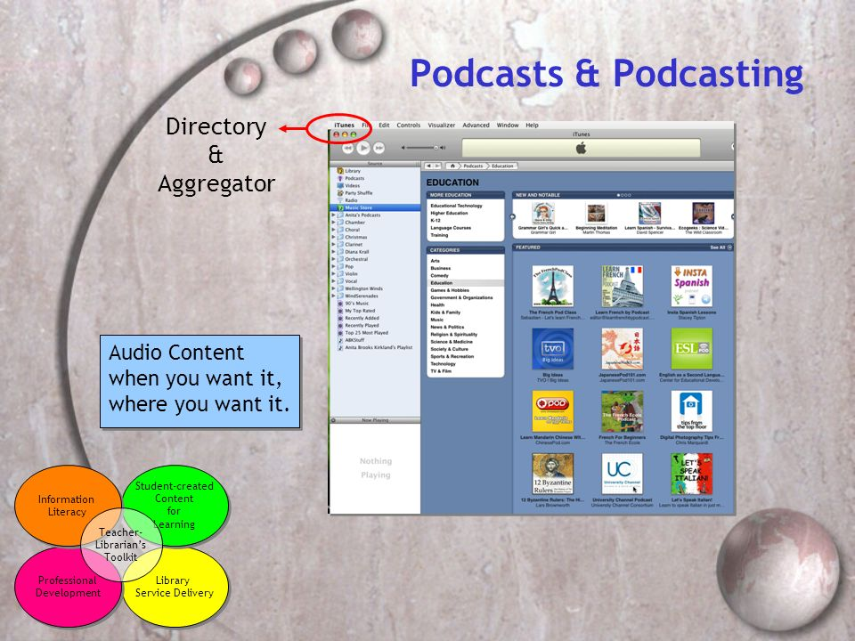 Podcasts & Podcasting Directory & Aggregator Audio Content when you want it, where you want it.