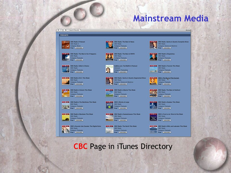 CBC Page in iTunes Directory Mainstream Media