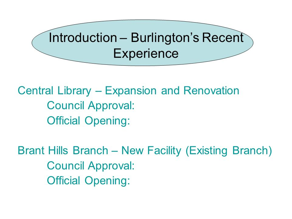 Introduction – Burlingtons Recent Experience Central Library – Expansion and Renovation Council Approval: Official Opening: Brant Hills Branch – New F