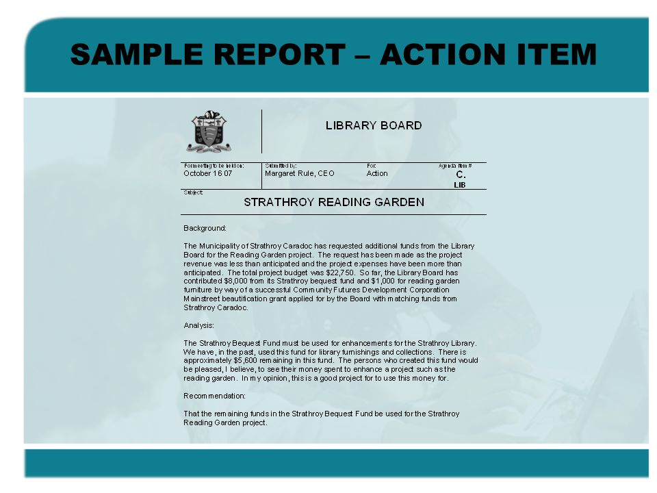 SAMPLE REPORT – ACTION ITEM