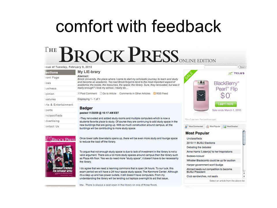 comfort with feedback