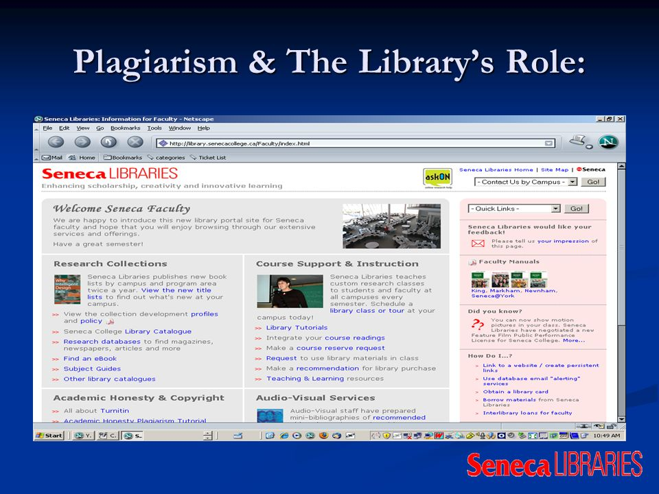 Plagiarism & The Librarys Role: