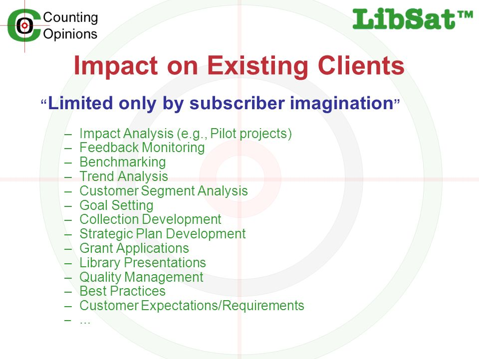 Impact on Existing Clients Limited only by subscriber imagination –Impact Analysis (e.g., Pilot projects) –Feedback Monitoring –Benchmarking –Trend Analysis –Customer Segment Analysis –Goal Setting –Collection Development –Strategic Plan Development –Grant Applications –Library Presentations –Quality Management –Best Practices –Customer Expectations/Requirements –…