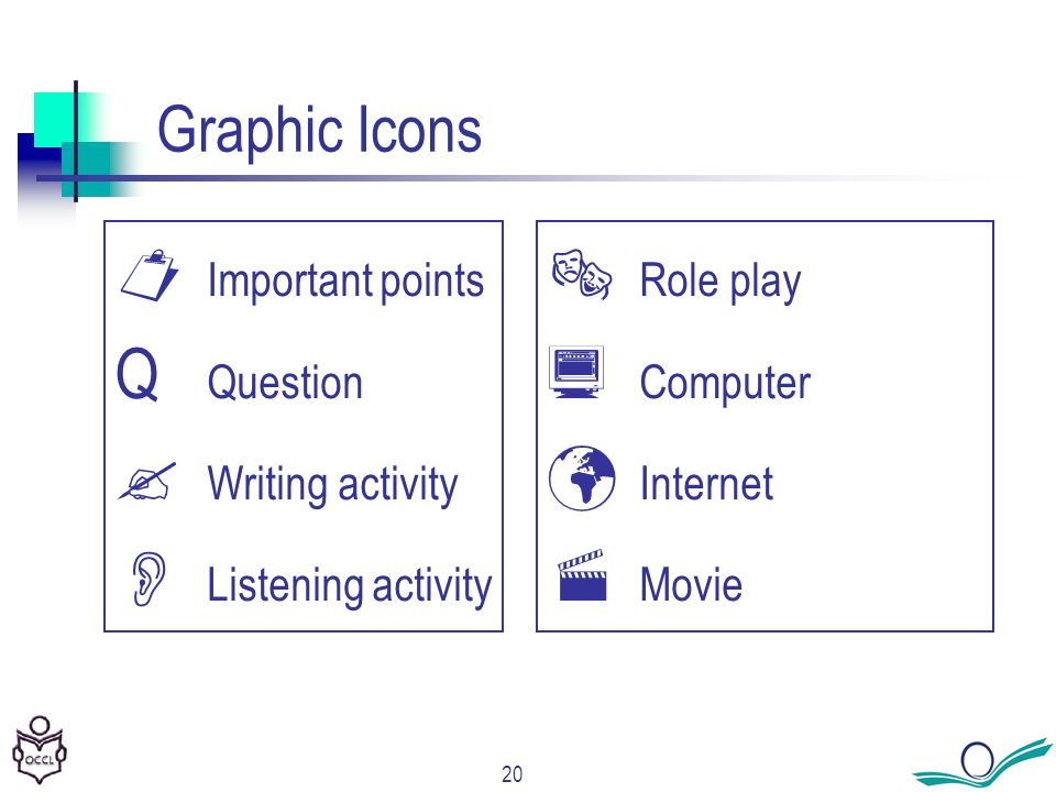 20 Graphic Icons Important points Q Question Writing activity Listening activity Role play Computer Internet Movie