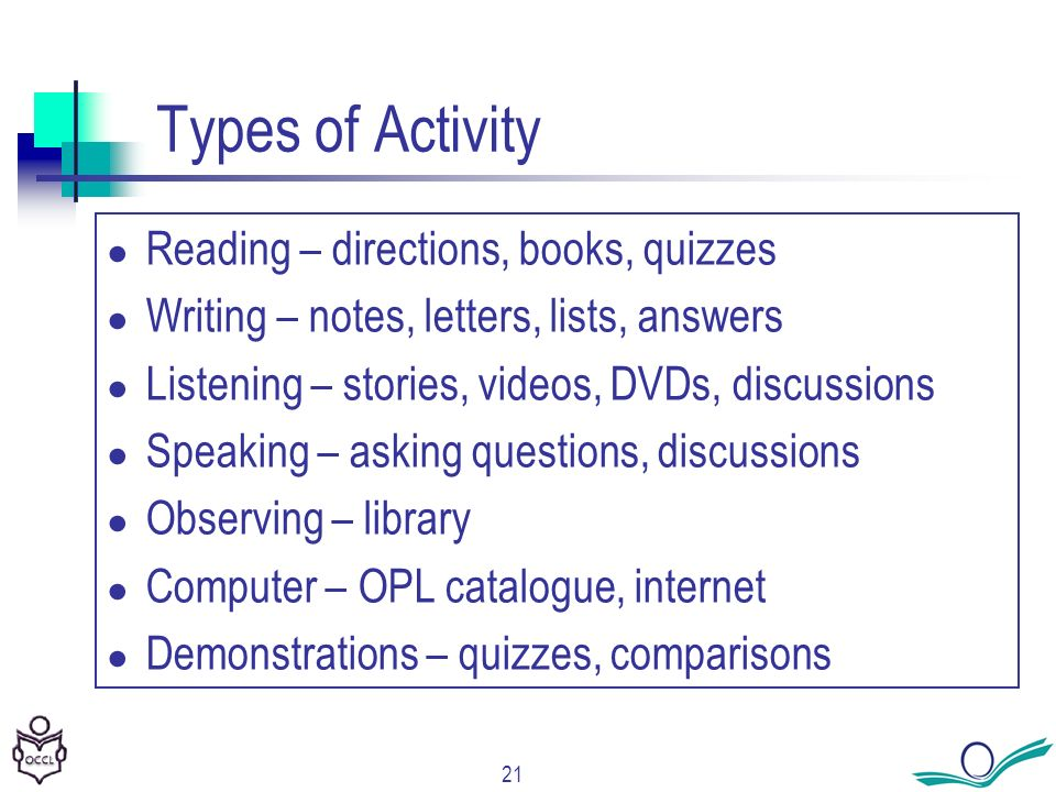 21 Types of Activity Reading – directions, books, quizzes Writing – notes, letters, lists, answers Listening – stories, videos, DVDs, discussions Speaking – asking questions, discussions Observing – library Computer – OPL catalogue, internet Demonstrations – quizzes, comparisons