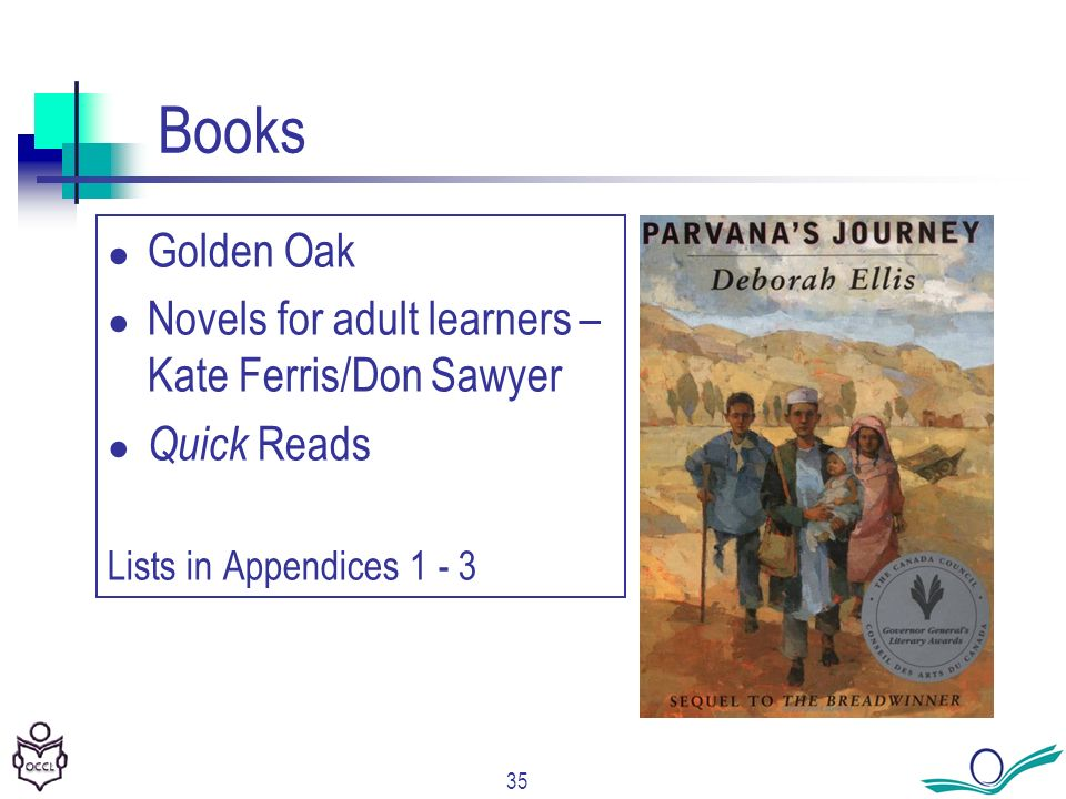 35 Books Golden Oak Novels for adult learners – Kate Ferris/Don Sawyer Quick Reads Lists in Appendices 1 - 3