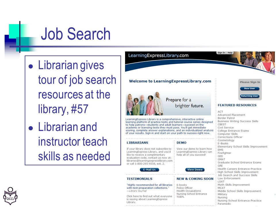 36 Job Search Librarian gives tour of job search resources at the library, #57 Librarian and instructor teach skills as needed