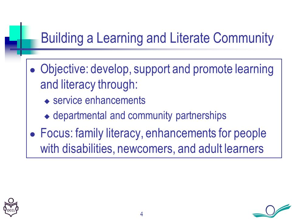 4 Building a Learning and Literate Community Objective: develop, support and promote learning and literacy through: service enhancements departmental and community partnerships Focus: family literacy, enhancements for people with disabilities, newcomers, and adult learners