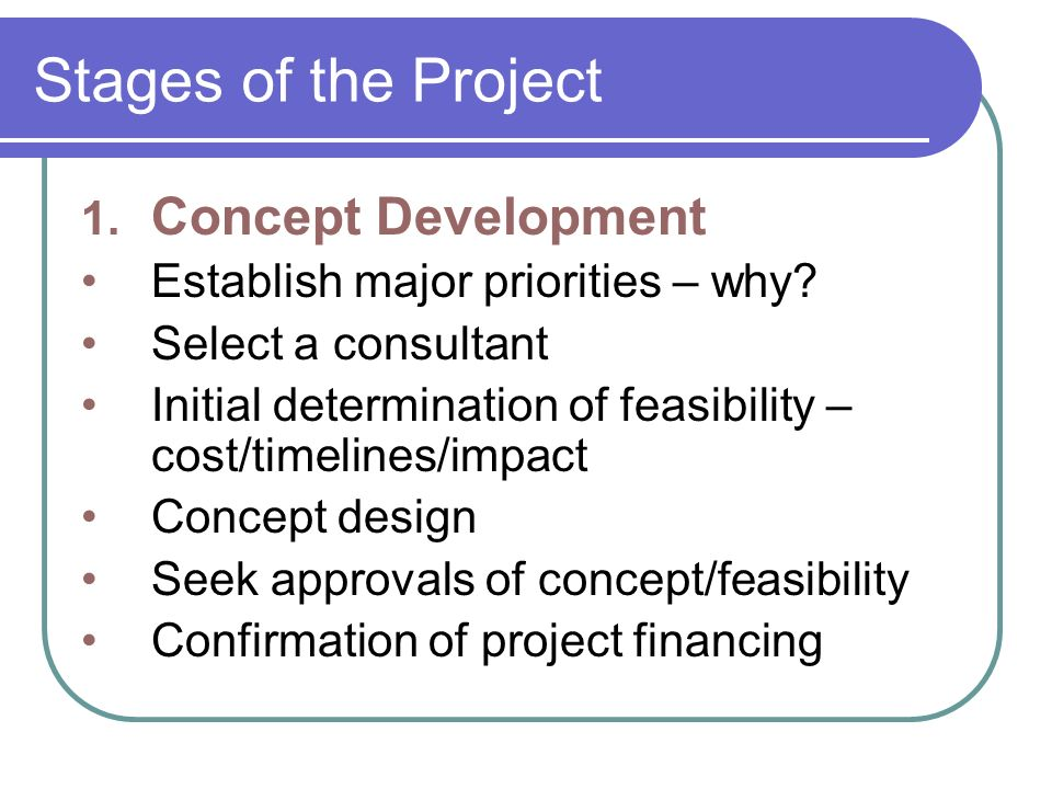 Stages of the Project (cont.) 2.