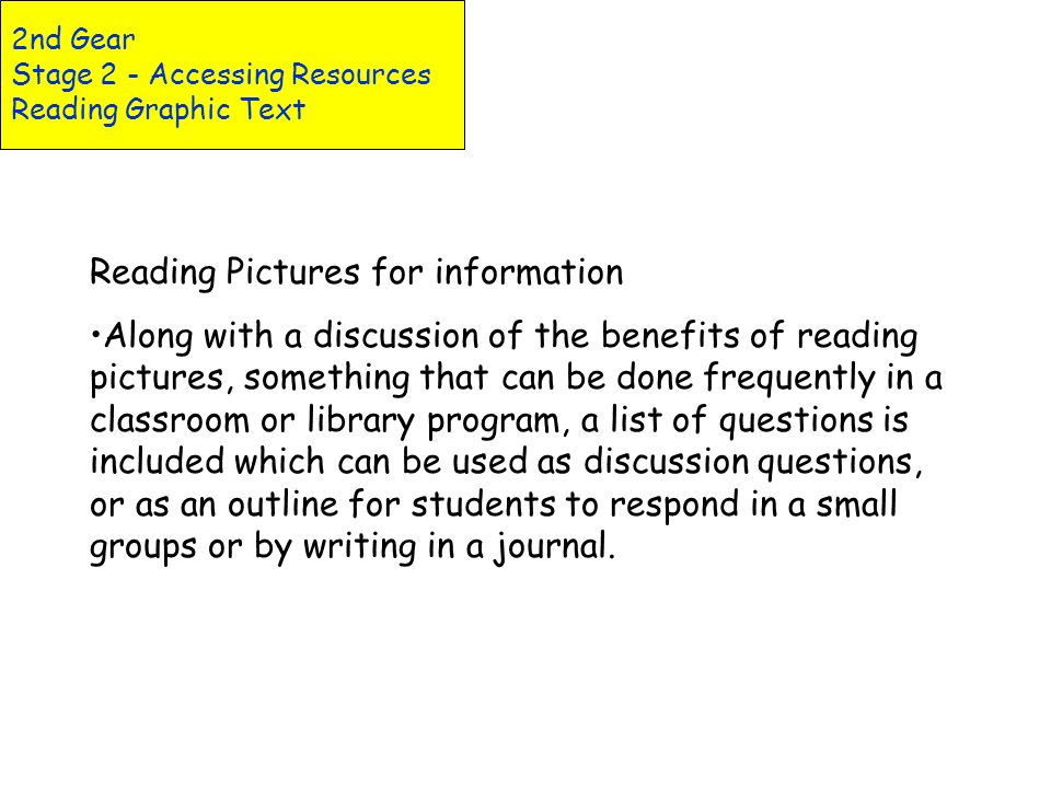 Reading a Diagram Reading a Chart Reading a Graph Reading a Map 2nd Gear Stage 2 - Accessing Resources Reading Graphic Text