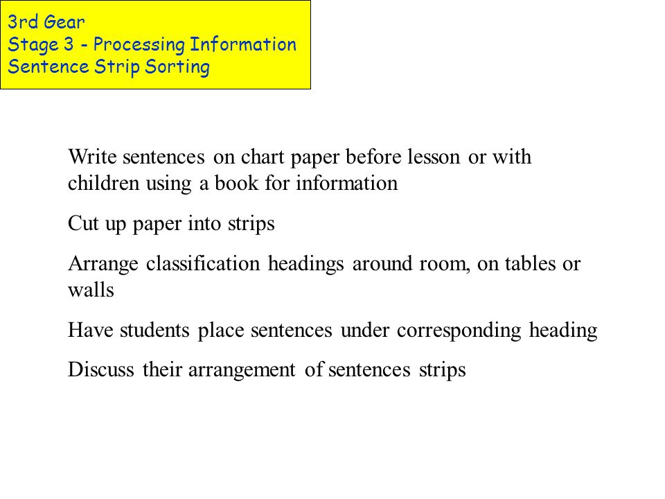 3rd Gear Stage 3 - Processing Information Using Graphic Organizers