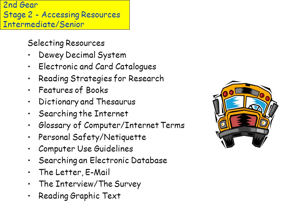 2nd Gear Stage 2 - Accessing Resources Junior-Intermediate Selecting Resources - In and Out of School Reading Response Dewey Decimal System Finding a