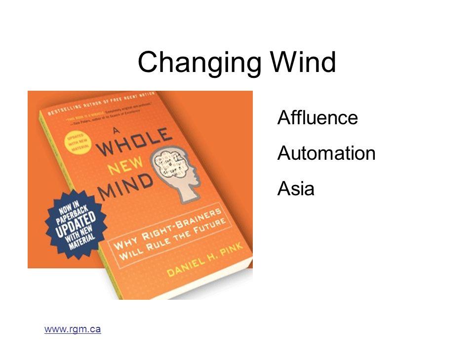 www.rgm.ca Changing Wind Affluence Automation Asia