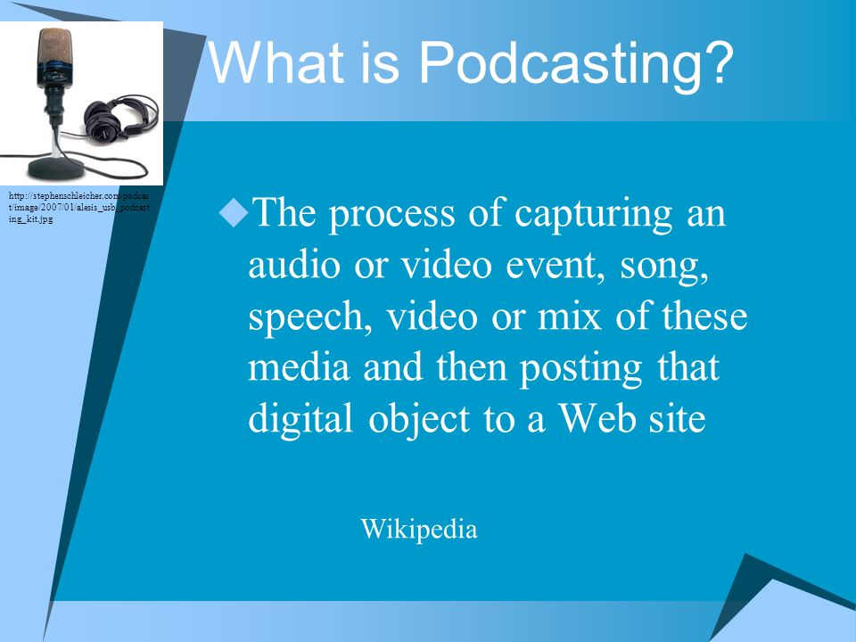 The process of capturing an audio or video event, song, speech, video or mix of these media and then posting that digital object to a Web site Wikiped