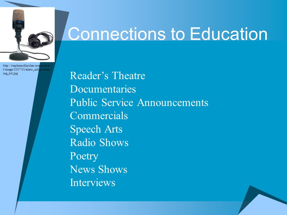 Connections to Education Readers Theatre Documentaries Public Service Announcements Commercials Speech Arts Radio Shows Poetry News Shows Interviews h
