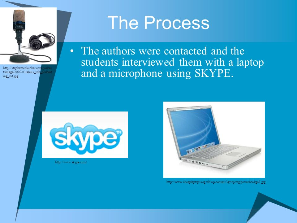 The Process The authors were contacted and the students interviewed them with a laptop and a microphone using SKYPE. http://stephenschleicher.com/podc