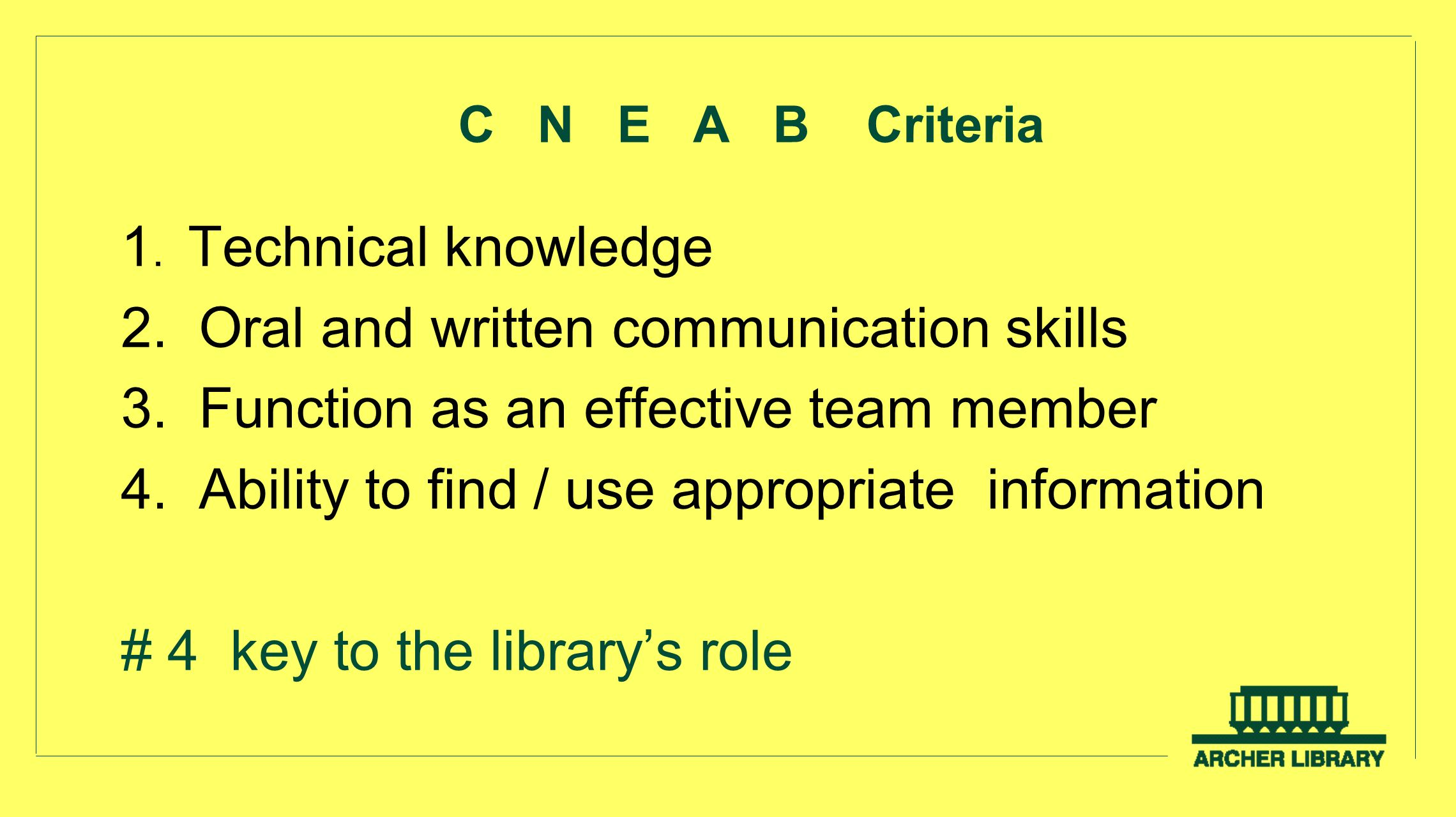 C N E A B Criteria 1. Technical knowledge 2. Oral and written communication skills 3. Function as an effective team member 4. Ability to find / use ap
