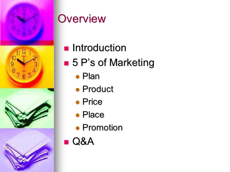 Overview Introduction Introduction 5 Ps of Marketing 5 Ps of Marketing Plan Plan Product Product Price Price Place Place Promotion Promotion Q&A Q&A