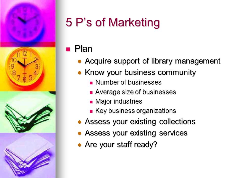 5 Ps of Marketing Product (and services) Product (and services) Knowledgeable staff Knowledgeable staff Business programs Business programs Print collections Print collections Library Catalogue Library Catalogue Electronic collections Electronic collections Databases Databases E-books E-books Web site links Web site links Virtual reference service Virtual reference service Online Business Book club Online Business Book club Job search assistance Job search assistance Room rentals Room rentals Library cards Library cards