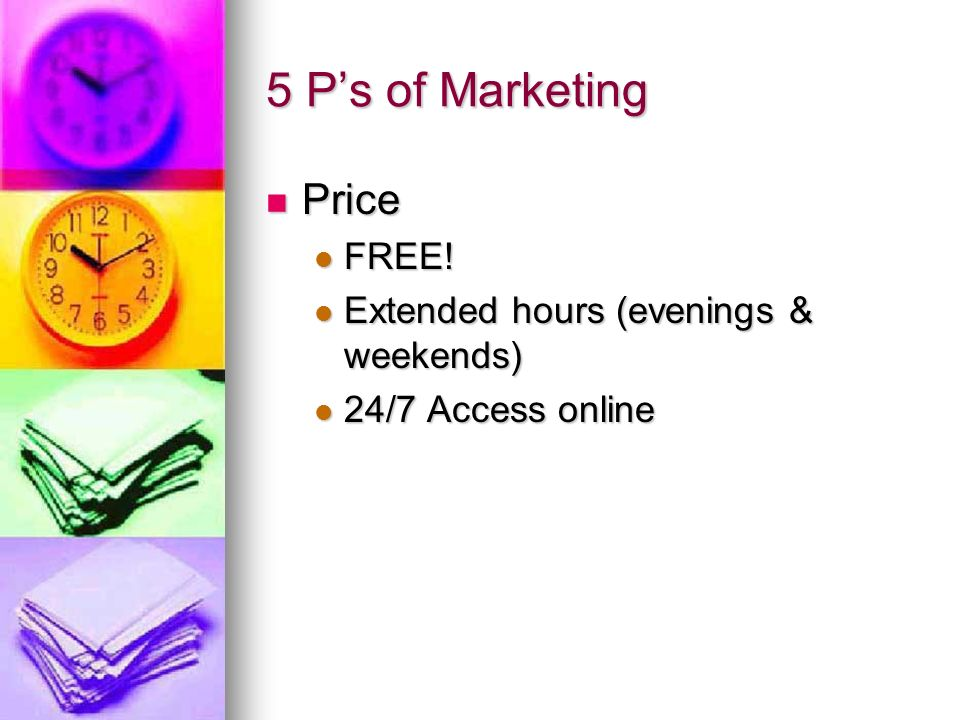 5 Ps of Marketing Price Price FREE! FREE! Extended hours (evenings & weekends) Extended hours (evenings & weekends) 24/7 Access online 24/7 Access onl