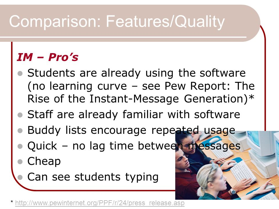 Comparison: Features/Quality IM – Pros Students are already using the software (no learning curve – see Pew Report: The Rise of the Instant-Message Generation)* Staff are already familiar with software Buddy lists encourage repeated usage Quick – no lag time between messages Cheap Can see students typing * http://www.pewinternet.org/PPF/r/24/press_release.asphttp://www.pewinternet.org/PPF/r/24/press_release.asp