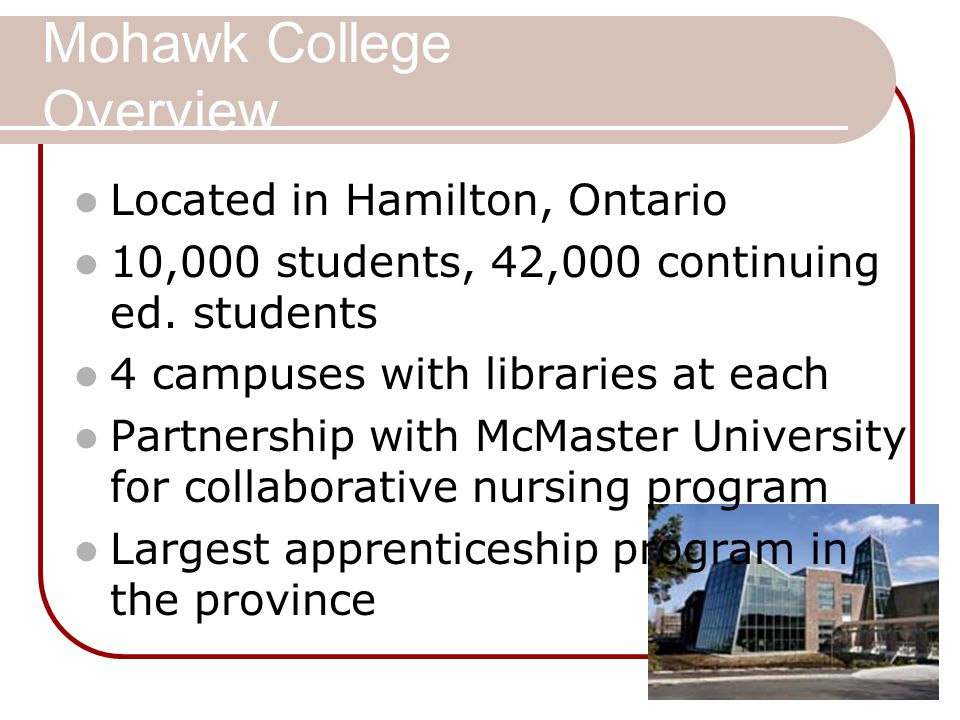 Mohawk College Overview Located in Hamilton, Ontario 10,000 students, 42,000 continuing ed.