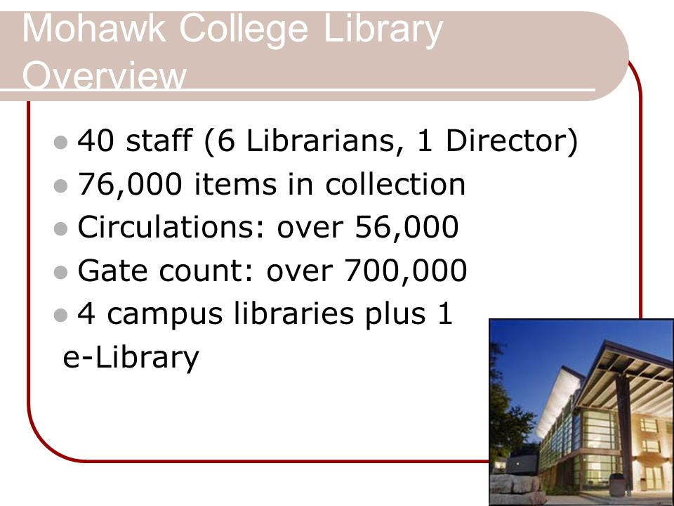 Mohawk College Library Overview 40 staff (6 Librarians, 1 Director) 76,000 items in collection Circulations: over 56,000 Gate count: over 700,000 4 ca