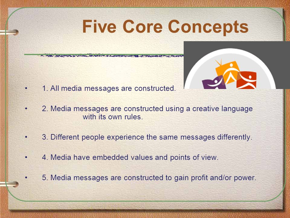 Five Core Concepts 1. All media messages are constructed.