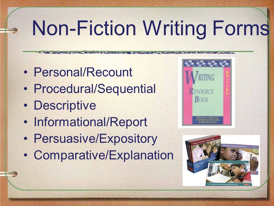 Non-Fiction Writing Forms Personal/Recount Procedural/Sequential Descriptive Informational/Report Persuasive/Expository Comparative/Explanation