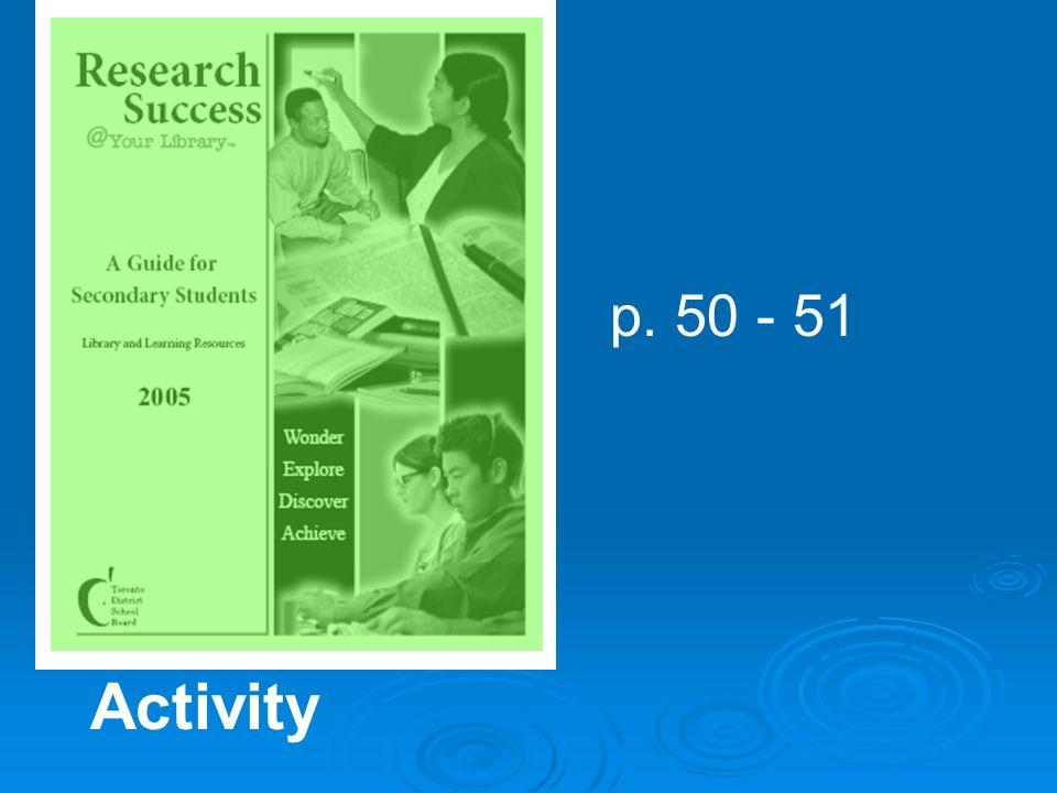 p. 50 - 51 Activity