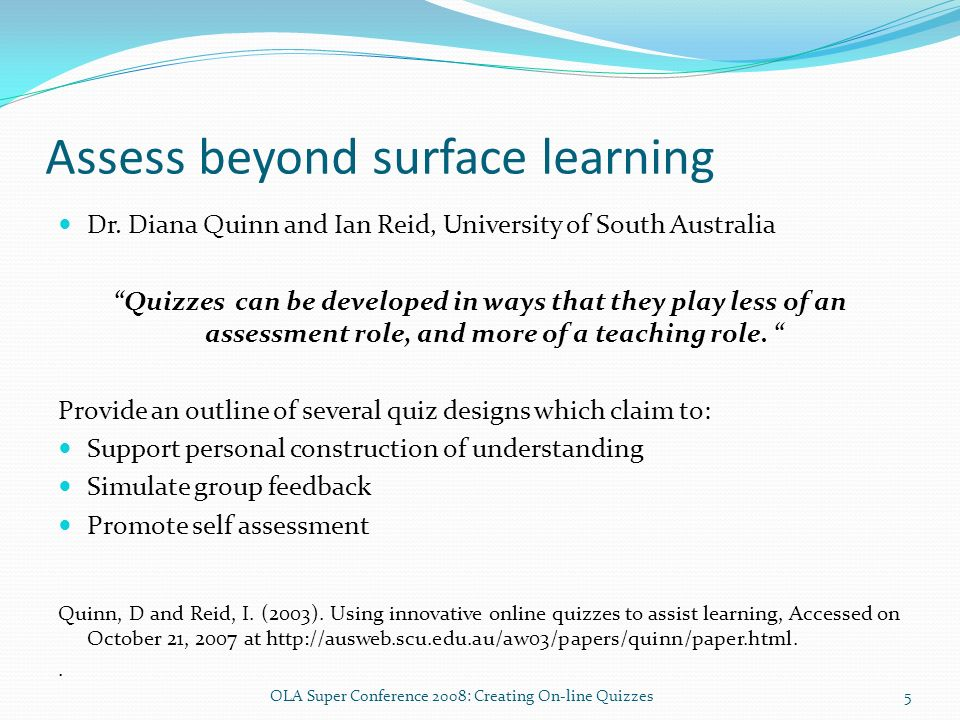 Assess beyond surface learning Dr.