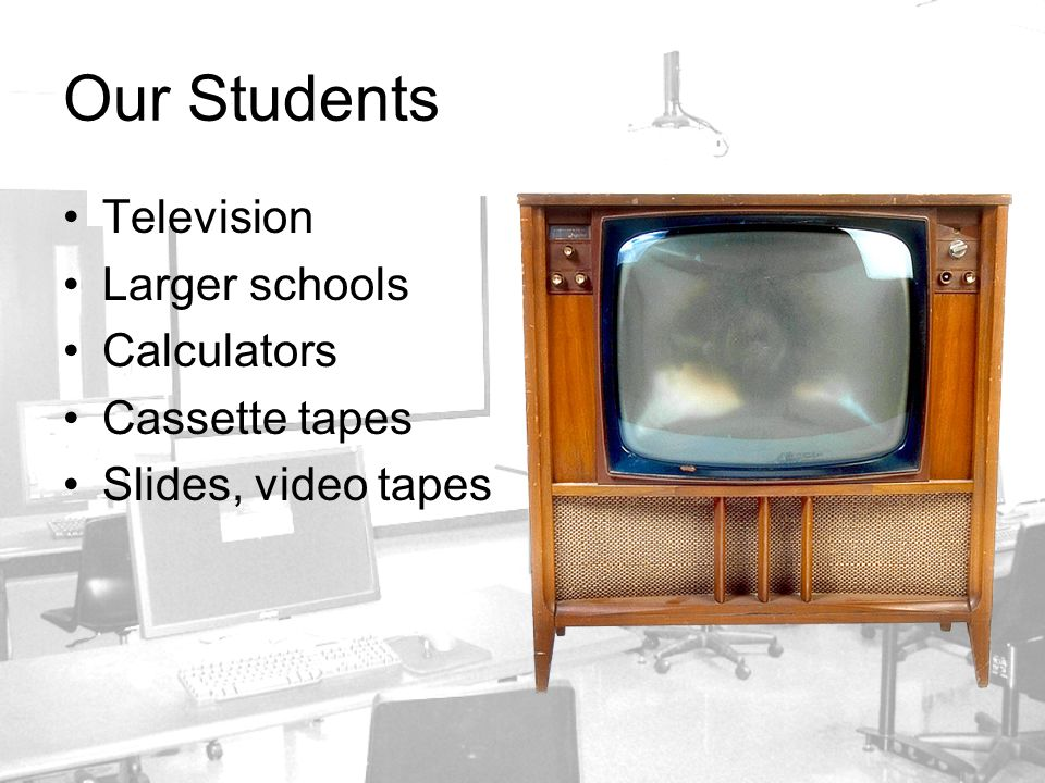Our Students Television Larger schools Calculators Cassette tapes Slides, video tapes