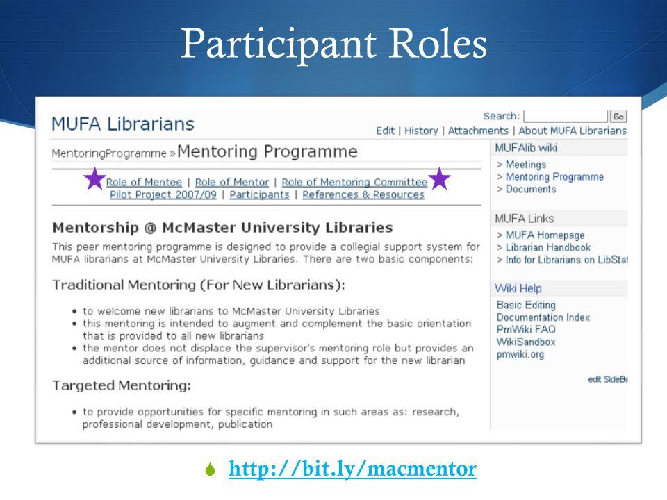 Participant Roles http://bit.ly/macmentor