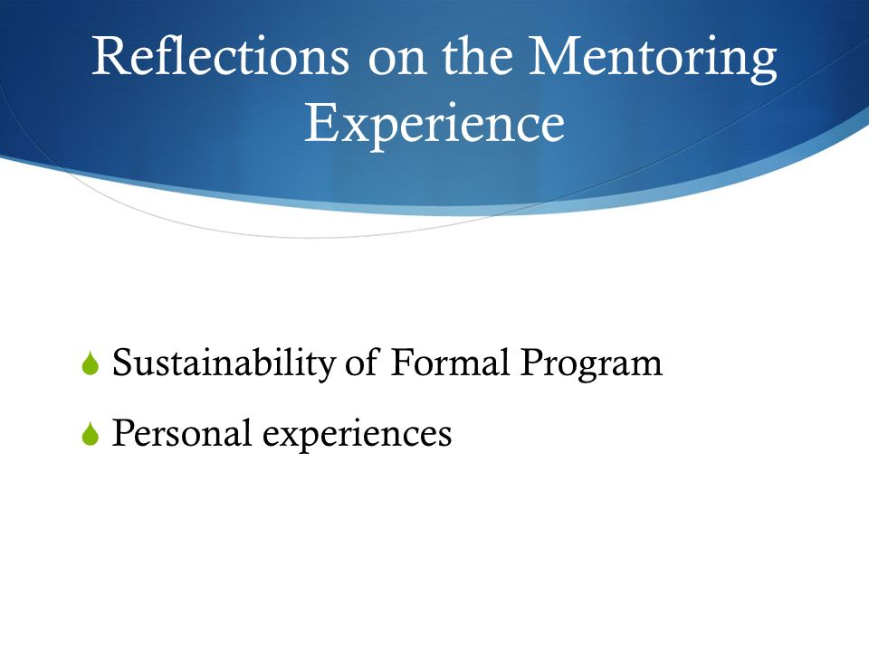 Reflections on the Mentoring Experience Sustainability of Formal Program Personal experiences