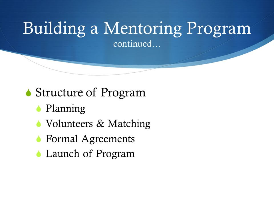 Building a Mentoring Program continued… Structure of Program Planning Volunteers & Matching Formal Agreements Launch of Program