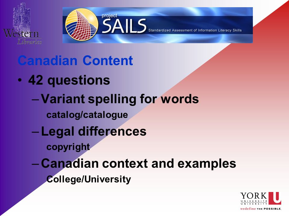 Canadian Content 42 questions –Variant spelling for words catalog/catalogue –Legal differences copyright –Canadian context and examples College/University