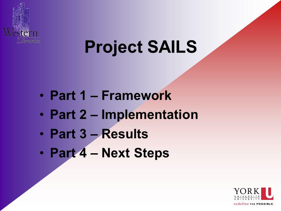 Project SAILS Part 1 – Framework Part 2 – Implementation Part 3 – Results Part 4 – Next Steps