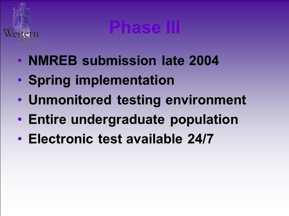 NMREB submission late 2004 Spring implementation Unmonitored testing environment Entire undergraduate population Electronic test available 24/7 Phase III
